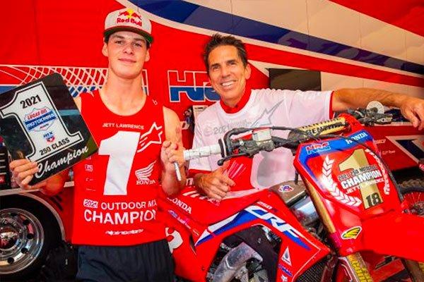 HRC Honda team manager Erik Kehoe with Jett Lawrence